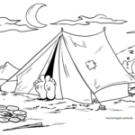 Coloring page camping & camping on vacation