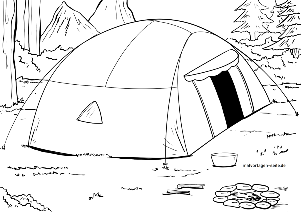 malvorlage zelt camping  kostenlose ausmalbilder