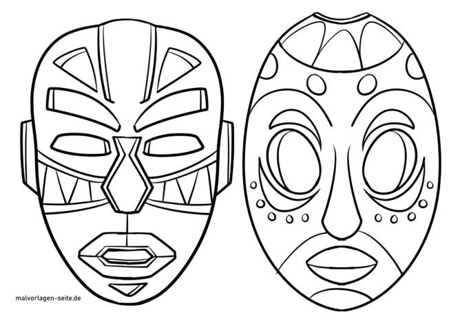 Coloring page African masks
