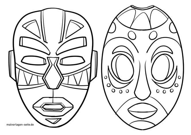Väritys sivu Afrikkalaiset naamarit