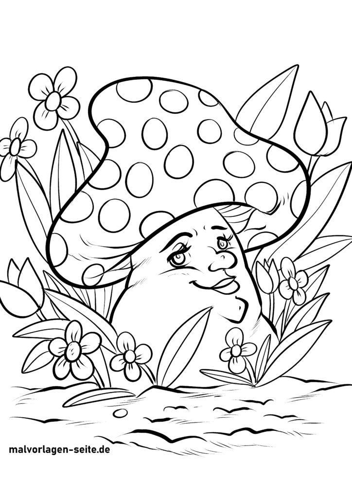ausmalbilder pilze für kinder kostenlos herunterladen und