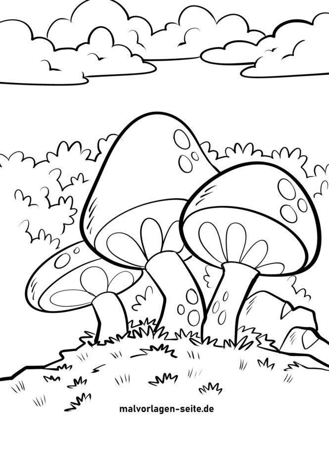 Väritys sivu sienet väritys