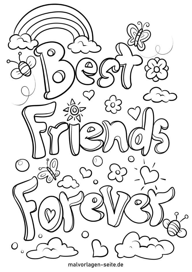 Coloring Page Friendship Best Friends Forever - Free Coloring Pages