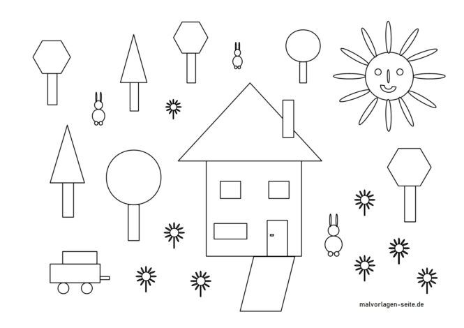 Coloring page house and forest made of geometric shapes