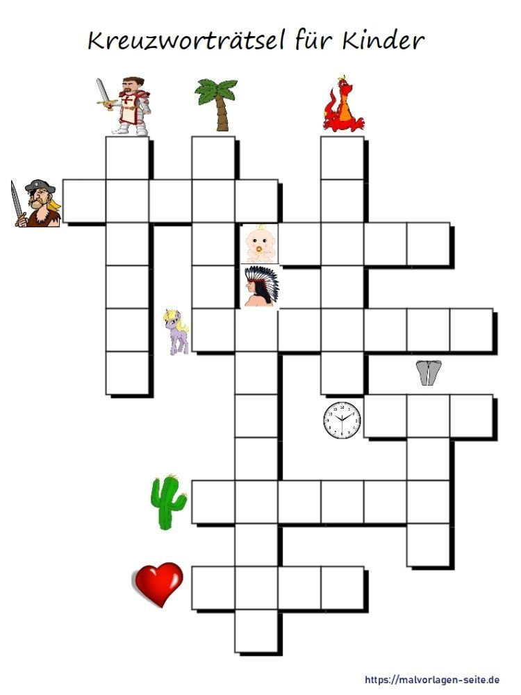 Kinder Kreuzworträtsel mit Bildern