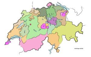 Political map of Switzerland without designation with neighboring states