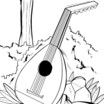 Coloring page lute | Musical instruments