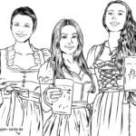 Coloring page women in dirndls with beer