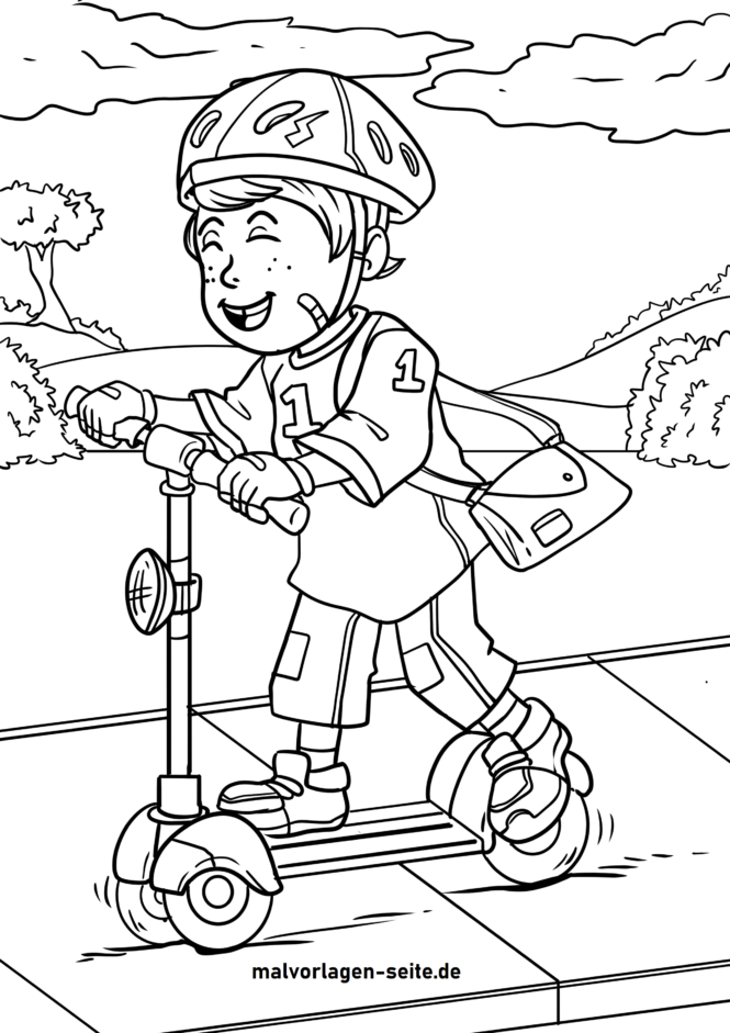 Coloriage scooter / faire du scooter