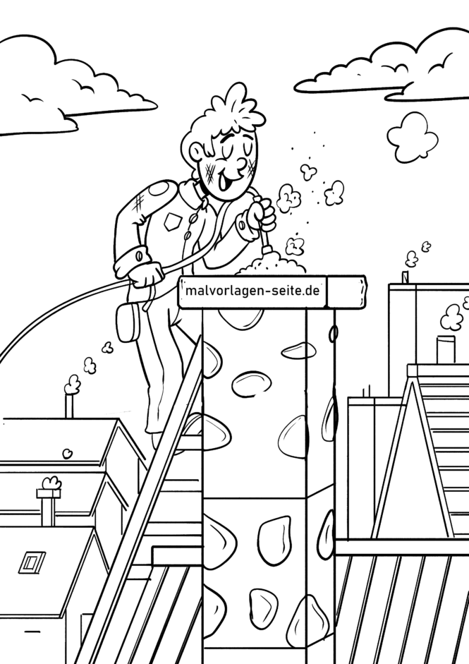 Coloring page chimney sweep on the chimney