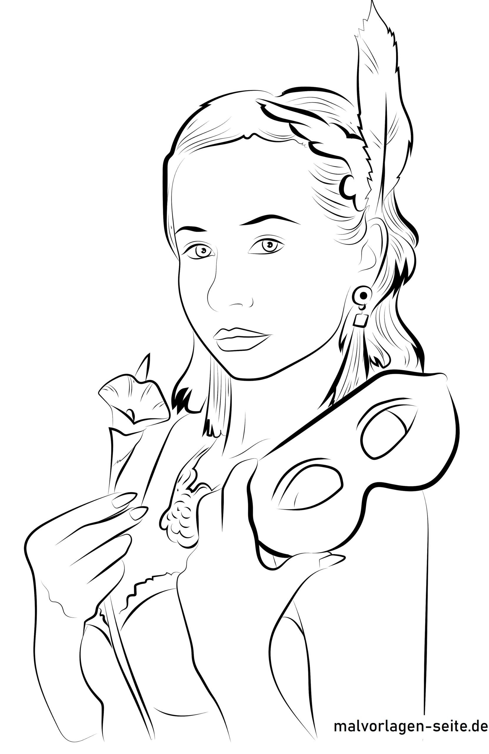 Coloring page mysterious woman with mask