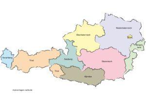 Polsk kort over Østrig