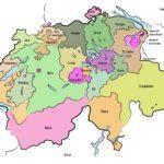 Karta Švicarske s kantonima
