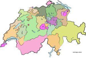 Politische Landkarte der Schweiz