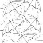 Coloriage parapluies sous la pluie
