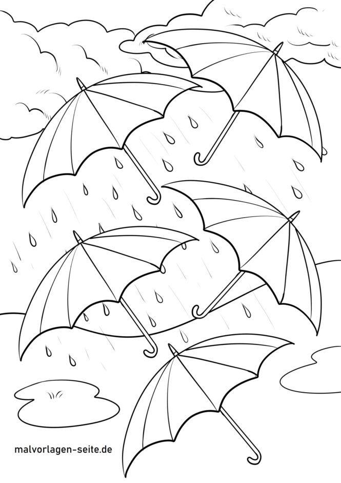 Раскраска зонтики под дождем