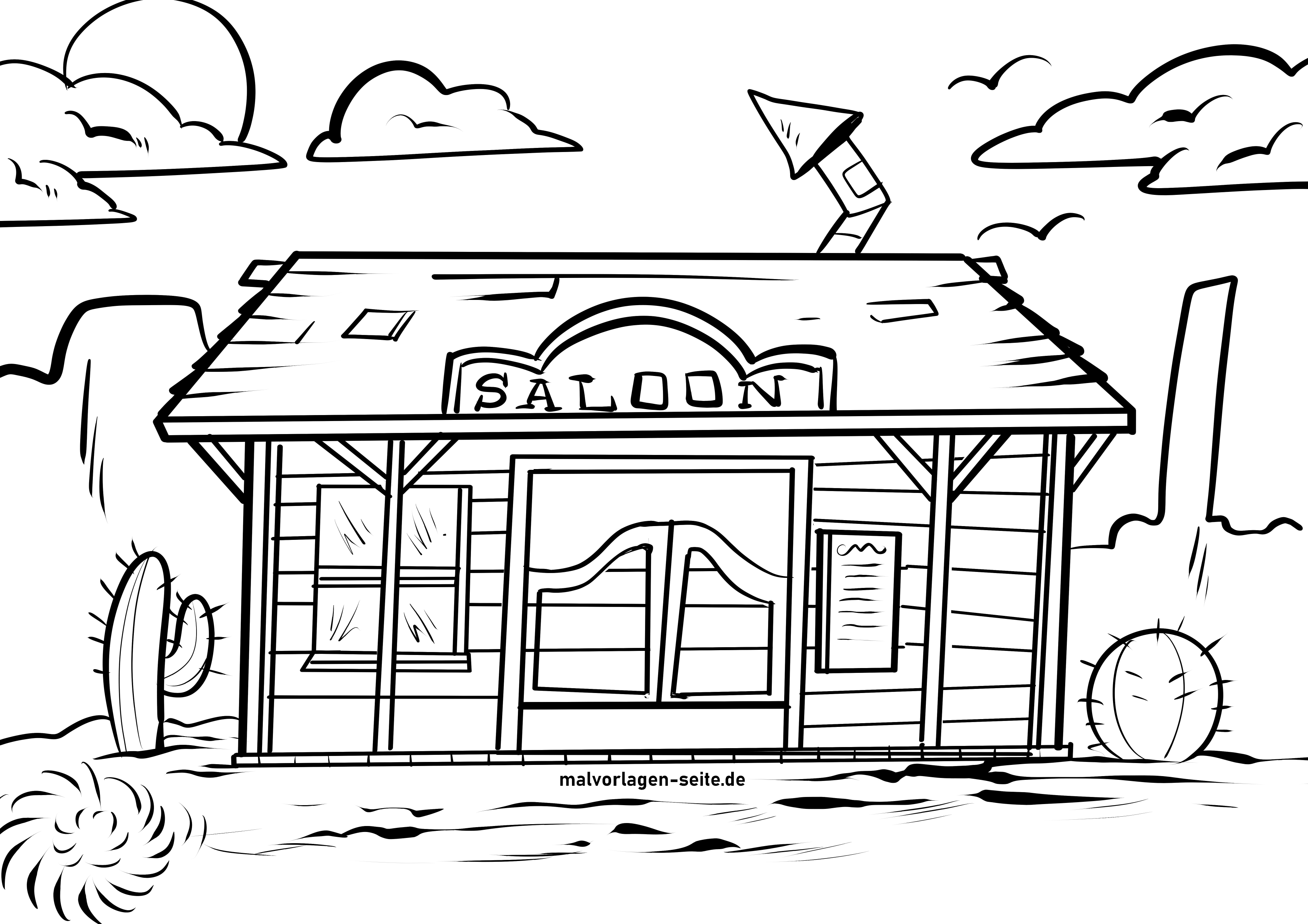 Coloring page saloon in the wild west
