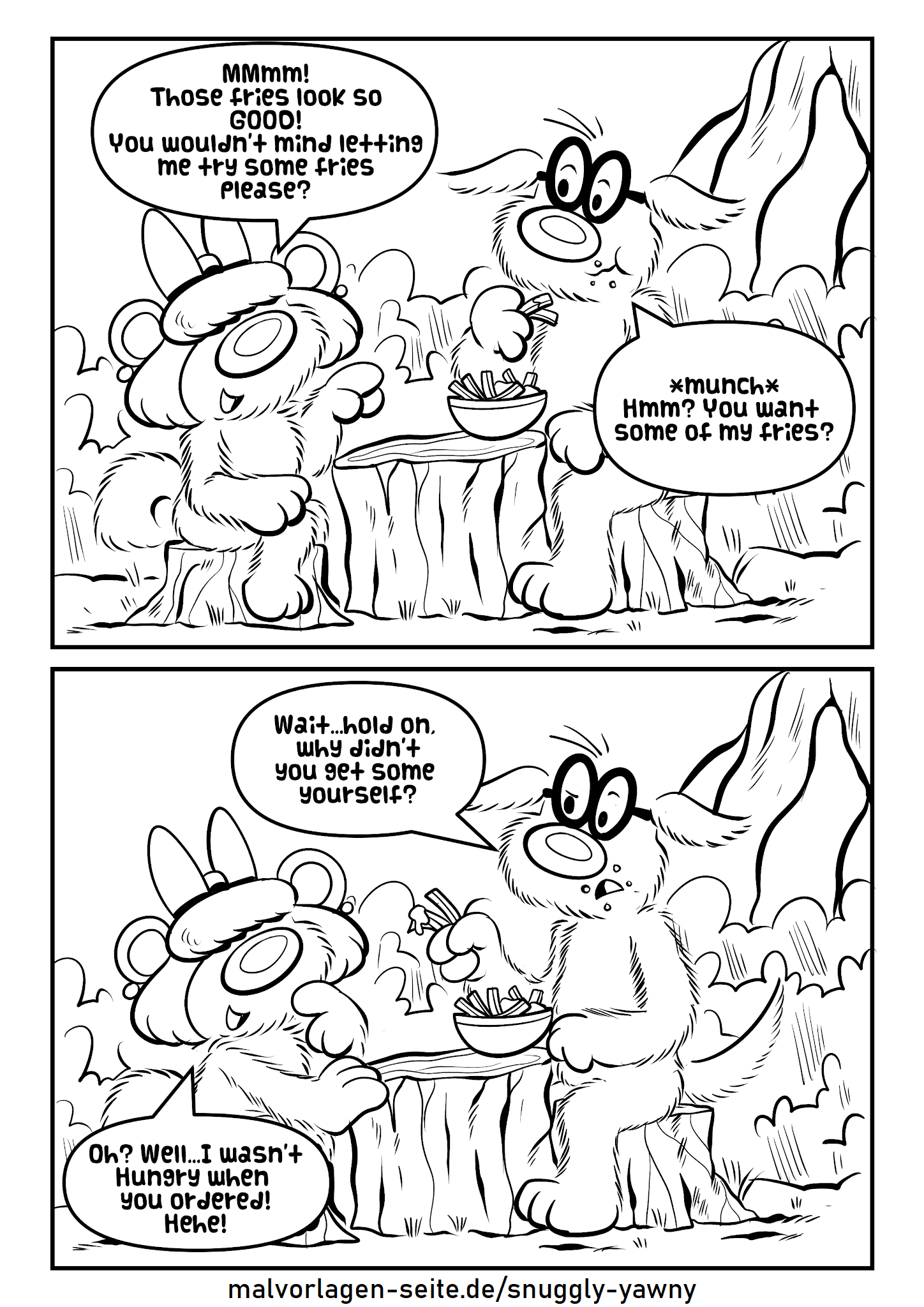 Snuggly و Yawny و سفارش سیب زمینی سرخ کرده
