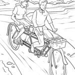 Coloring page tandem bicycle