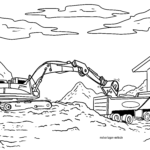 Coloriage excavatrice | chantier de construction