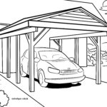 Coloring page carport car