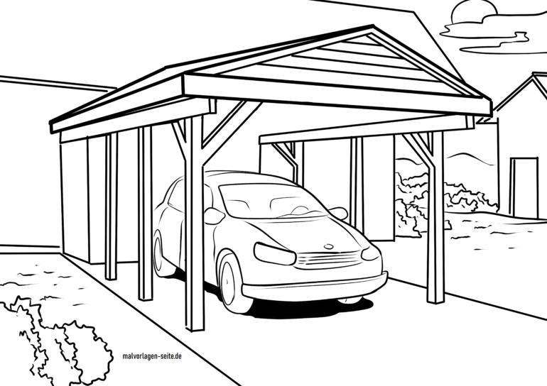 Malvorlage Carport mit Auto
