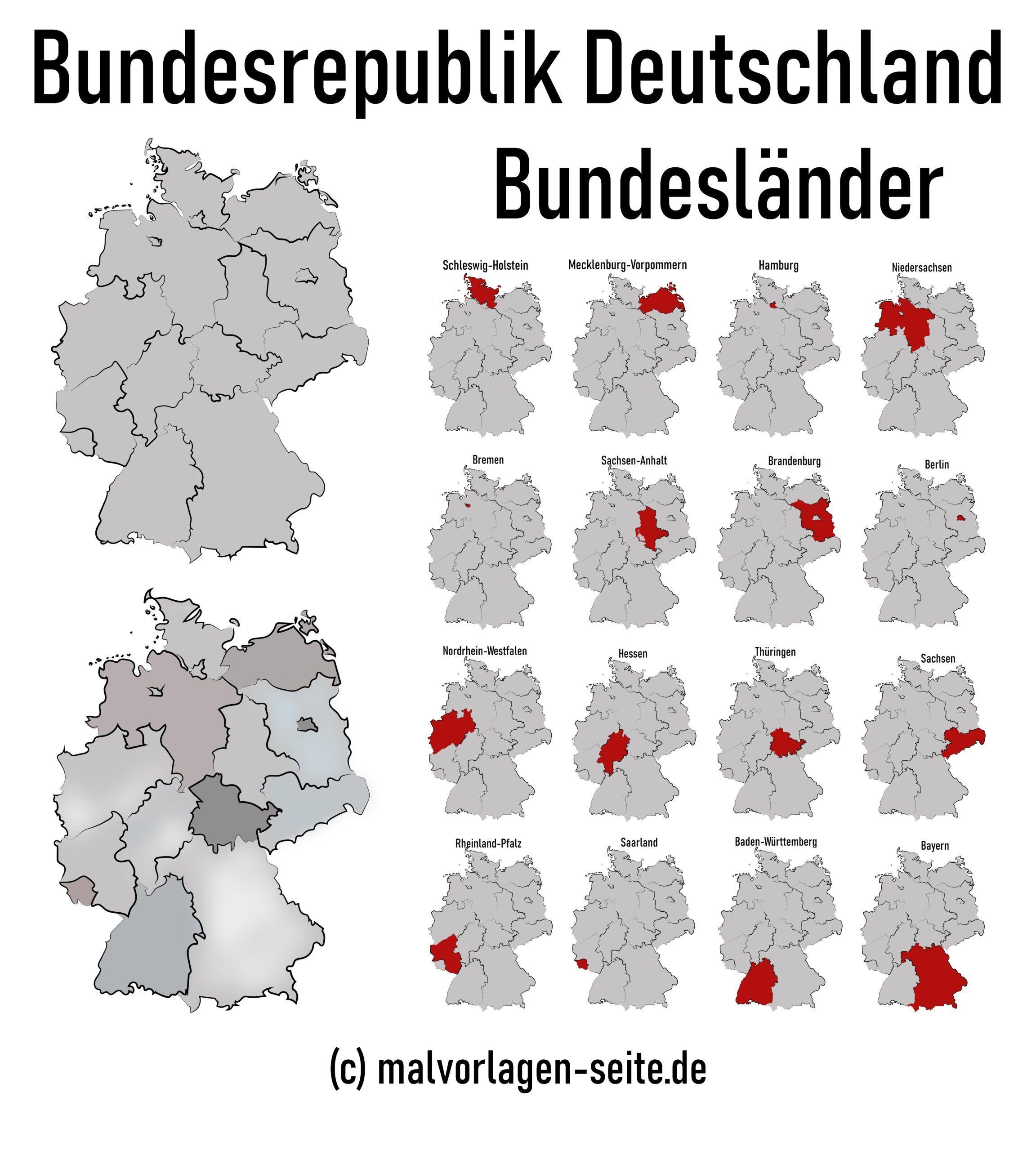 Karte deutschland bundesländer hauptstadt 16 Bundesländer