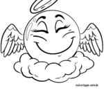 Emoji-enkeli siivillä ja halolla