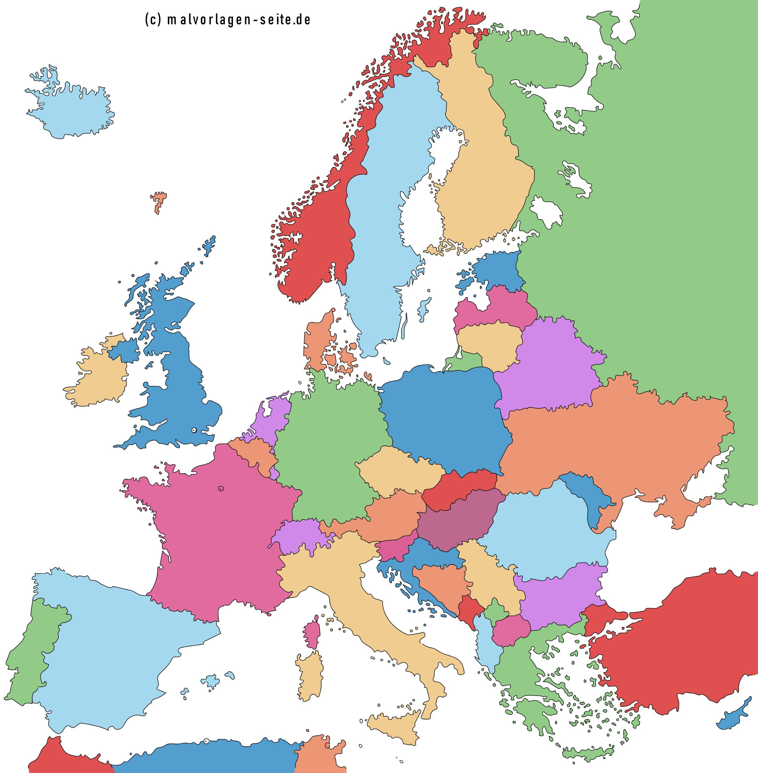 Europakarte - Alle Länder In Europa Und Hauptstädte
