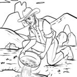 Coloriage prospecteur | Chercheur d'or