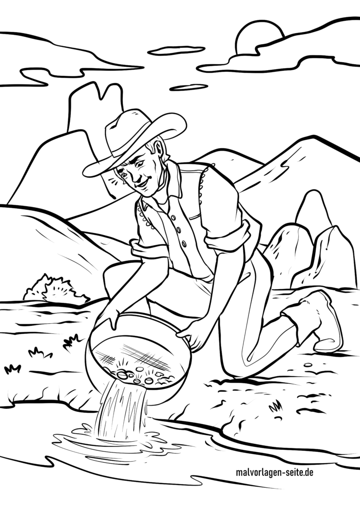 Coloring page prospector | Gold digger