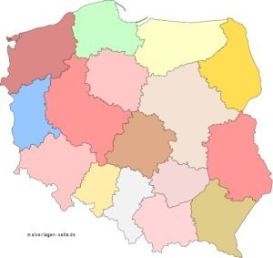 Poland political map without names
