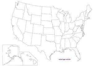 Landkarten USA mit Bundesstaaten - Kostenlose Ausmalbilder