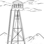 Coloring page observation tower