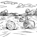 Coloring page field with hay bales