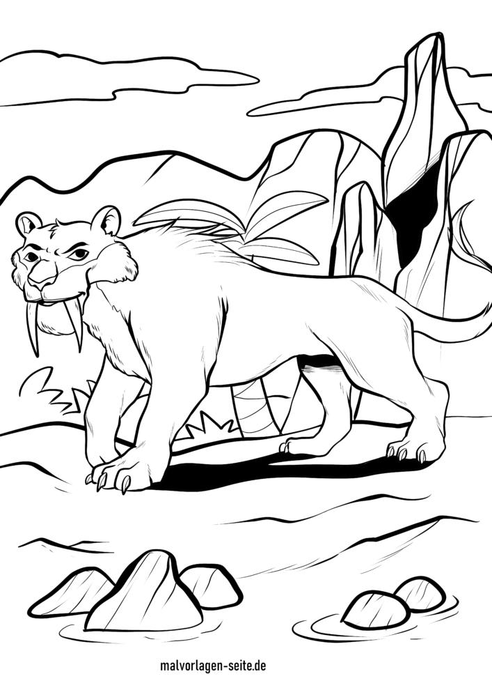 Раскраска саблезубый тигр