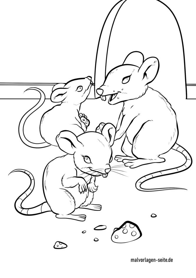 Tegninger til farvelægning mus