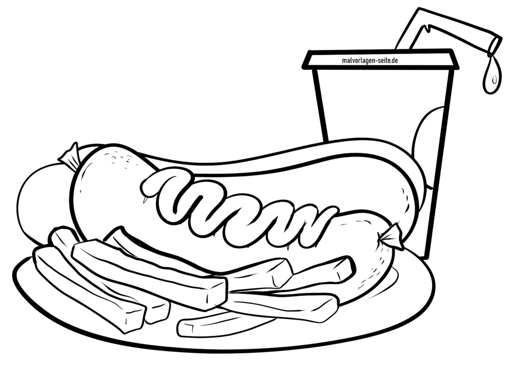 Coloring page currywurst with fries | eat