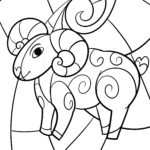 Aries zodiac sign for coloring - signs of the zodiac