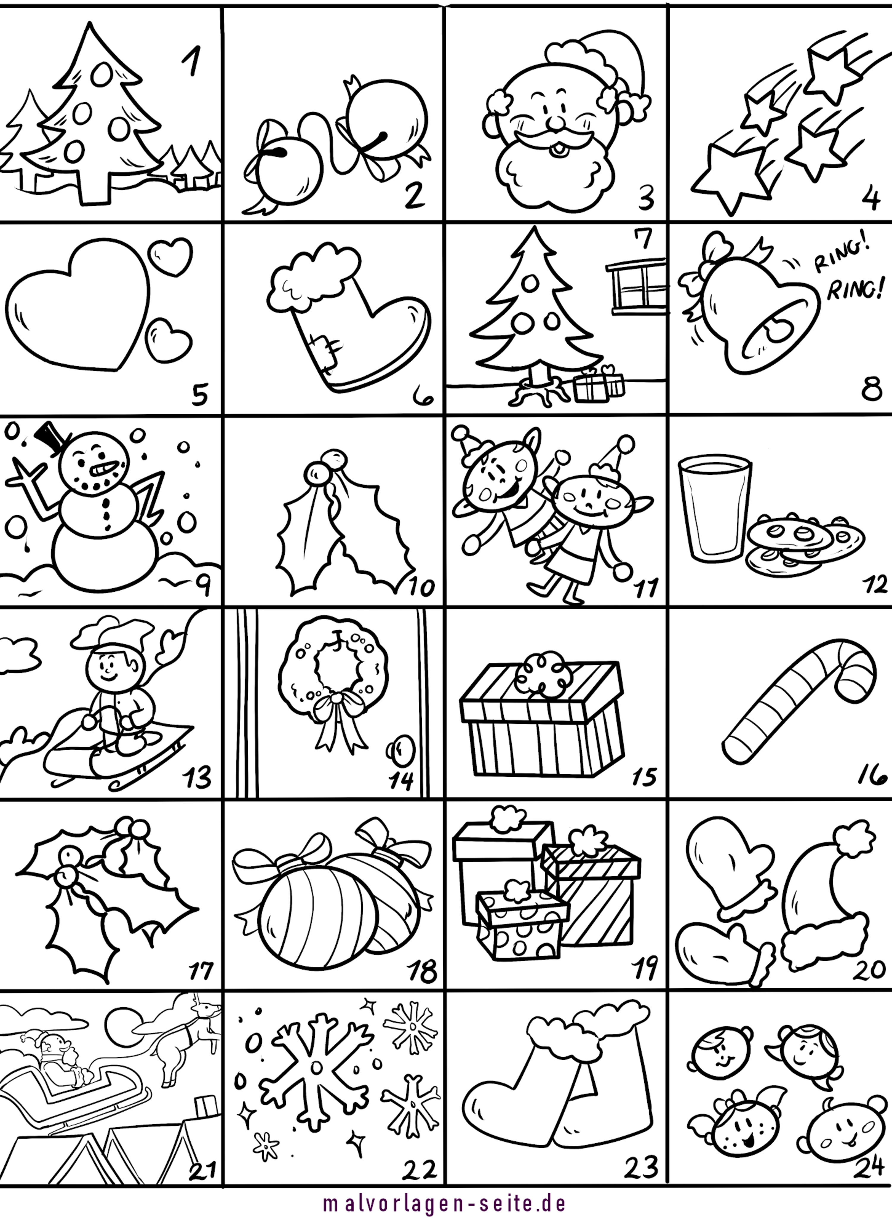 Advent calendar template for coloring and handicrafts