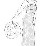 Страница за оцветяване булчински моден модел в сватбена рокля с шарка