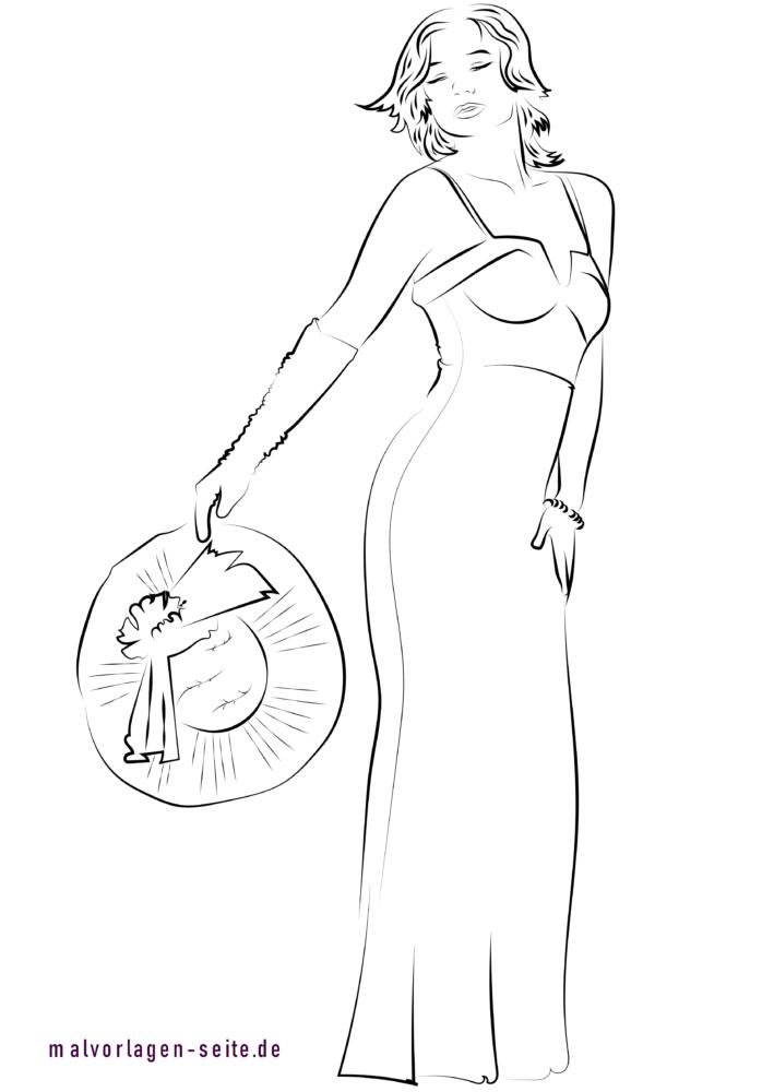 Coloring page bridal fashion model