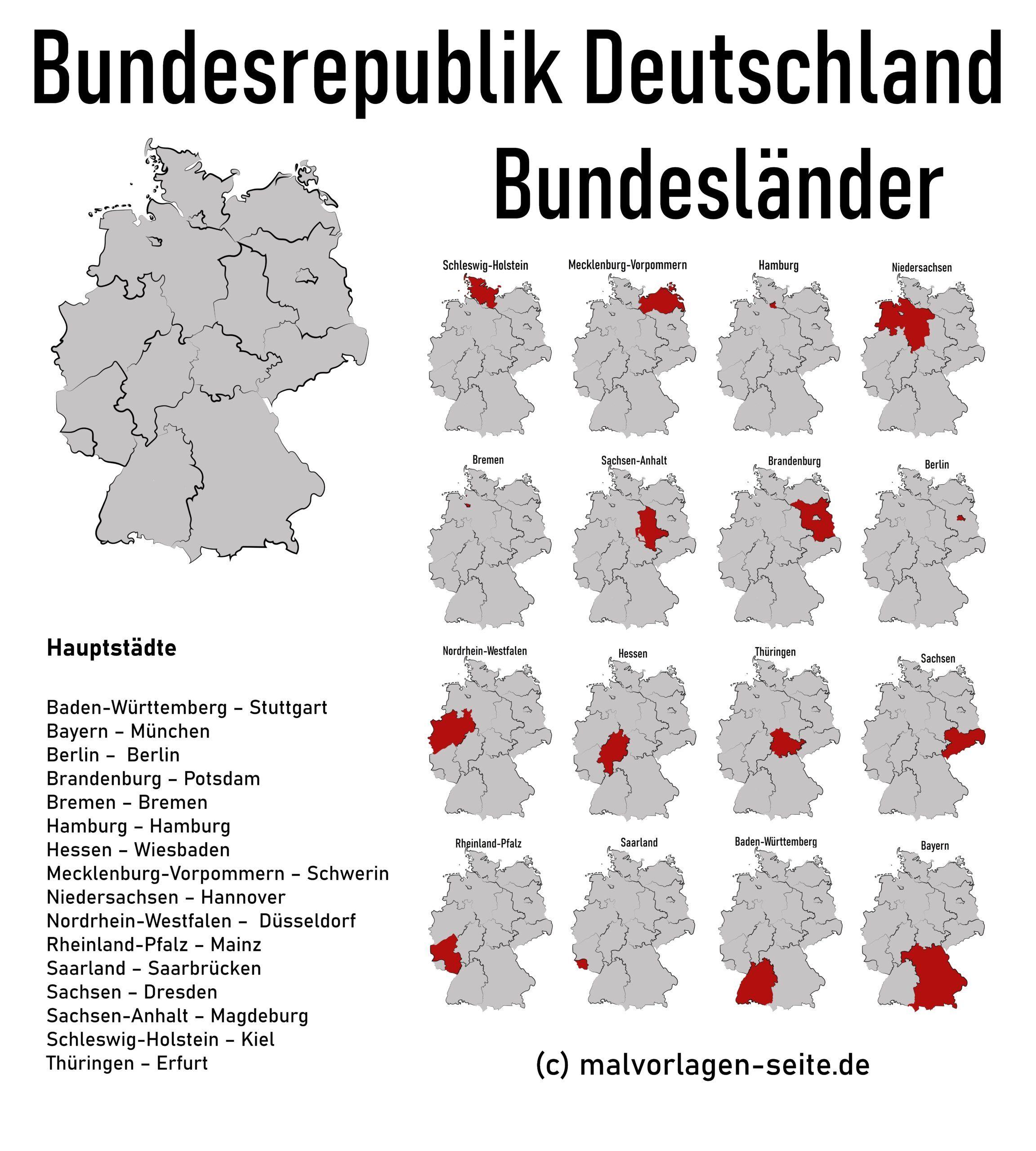 landkarte deutschland bundesländer mit hauptstädten Wie heißen die 16 Bundesländer von Deutschland und ihre Hauptstädte