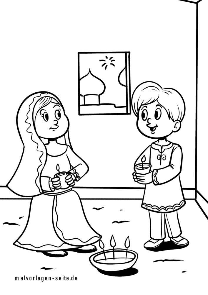 Coloring page Diwali Festival of Lights