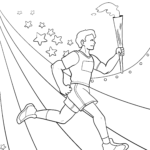 Coloring page Olympic Games torch-bearer