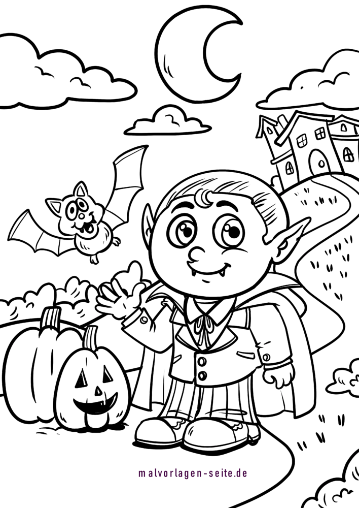 Coloring page Halloween child