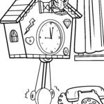Coloring page cuckoo clock