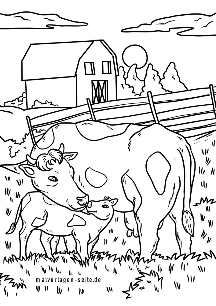 malvorlage kuh  bauernhof kühe  kostenlose ausmalbilder