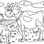 Coloring page cow and calf | Farm cows