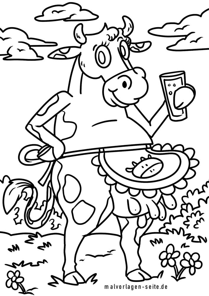 ausmalbild kuh melken | kinder ausmalbilder